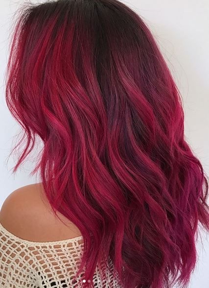 cool magenta toned red hair | Crazy colored hair | Hair, Hair color