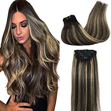 Amazon.com : Googoo Human Hair Extensions Clip in Balayage Natural