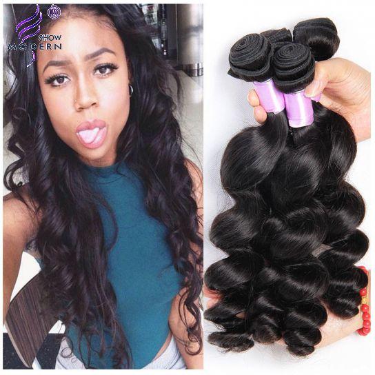 Real Peruvian Loose Wave Virgin Hair Weave 4 Bundles Wavy Remy Human