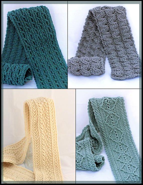 Crochet Cable Scarf Patterns Crochet Men's Scarf | Etsy