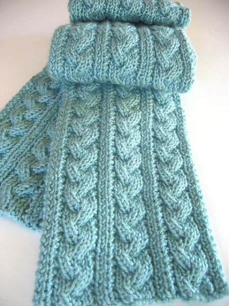 Free knitting pattern for Braided Cable Scarf and more scarf