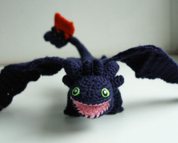 Crochet pattern for Toothless in PDF format. Meet the Toothless