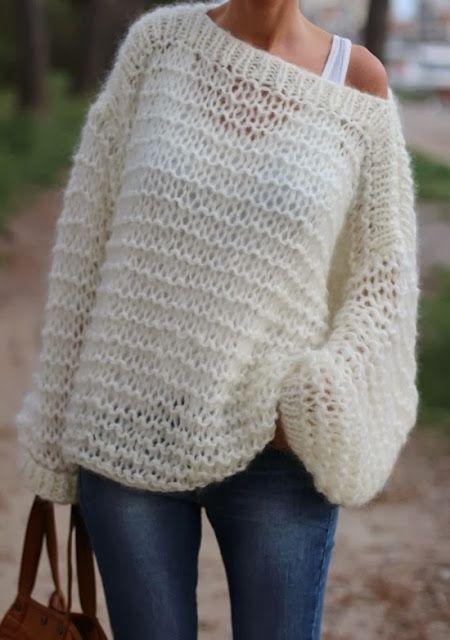 MES FAVORIS TRICOT-CROCHET: Modèle tricot gratuit : Le pull oversize