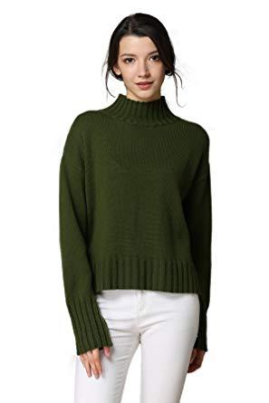 MEEFUR Women's Long Sleeve Wool Knitted Mock Neck Sweater Loose Fit