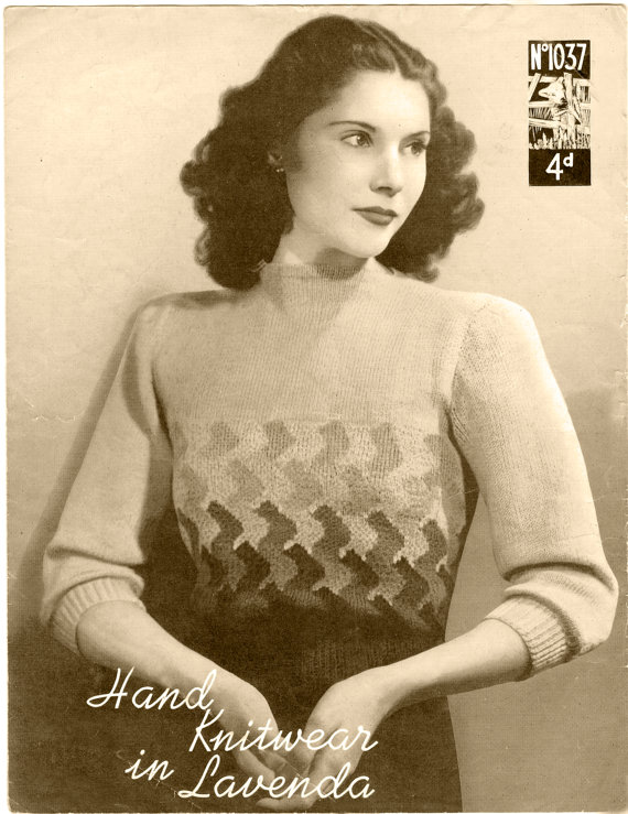 VINTAGE KNITTING pattern 1930's Womens Sweater (127) Instant