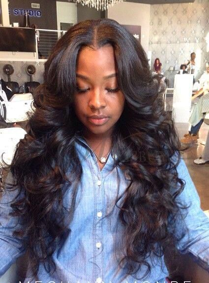 wavy weave hairstyles with side part - Google Search   ᴴᴬᴵᴿ ᴼᴺ