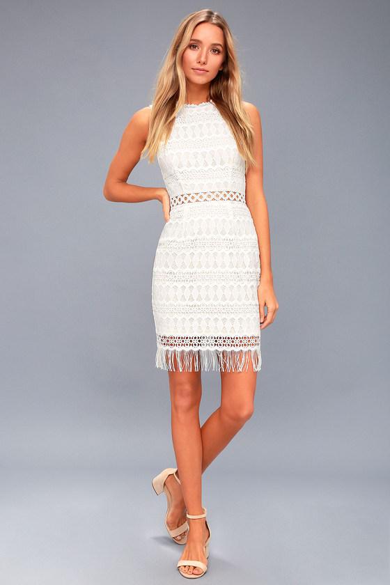 Lovely White Lace Dress - Bodycon Dress - Sleeveless Dress