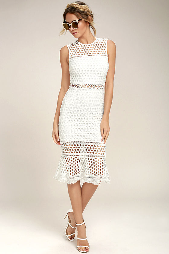 Stunning White Midi Dress - Crochet Lace Dress - Lace Midi Dress