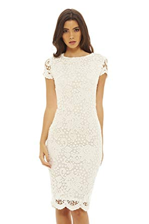 Amazon.com: AX Paris Women's Floral Detail Crochet Midi Dress: Clothing