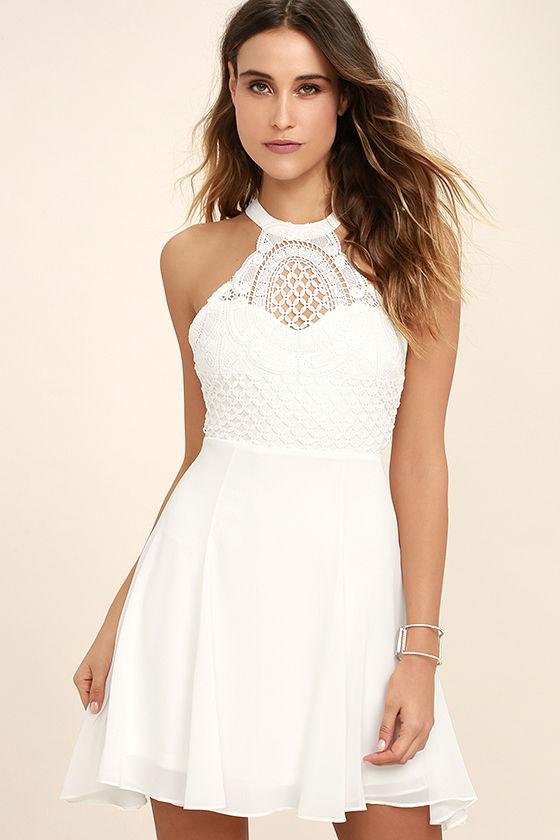 Cute Crocheted Dress - White Dress - Skater Dress - Backless Dress