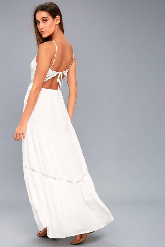 Lovely White Crocheted Lace Dress - Lace Maxi Dress