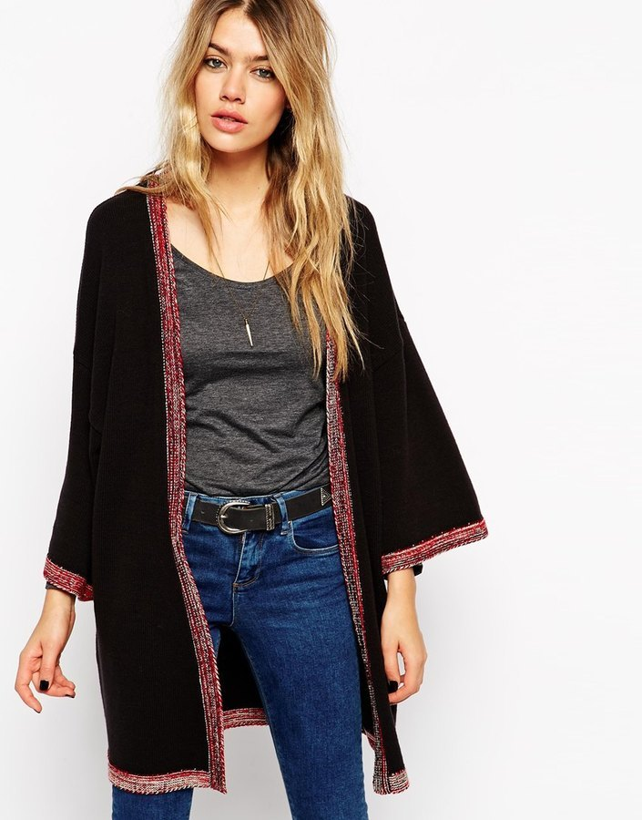 ... asos collection longline kimono cardigan with embroidered tipping ... PAVSSTV