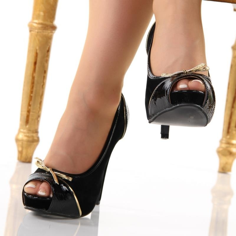 ... precious peep toes high heels pumps platforms black ... DEHMNOZ