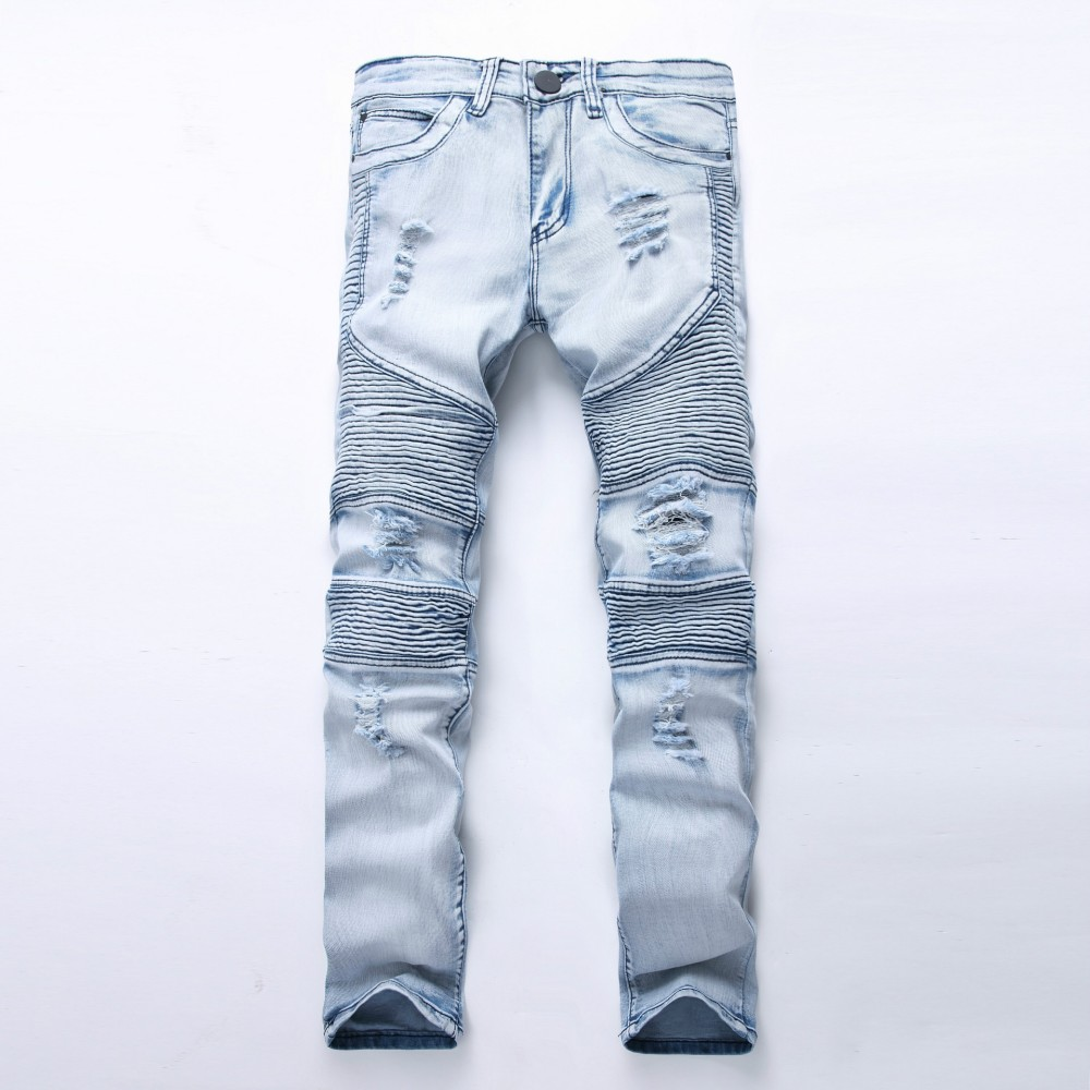 2016 new fashion mens biker denim jeans homme fashion ripped jeans slim  fitness men FAVFRVC
