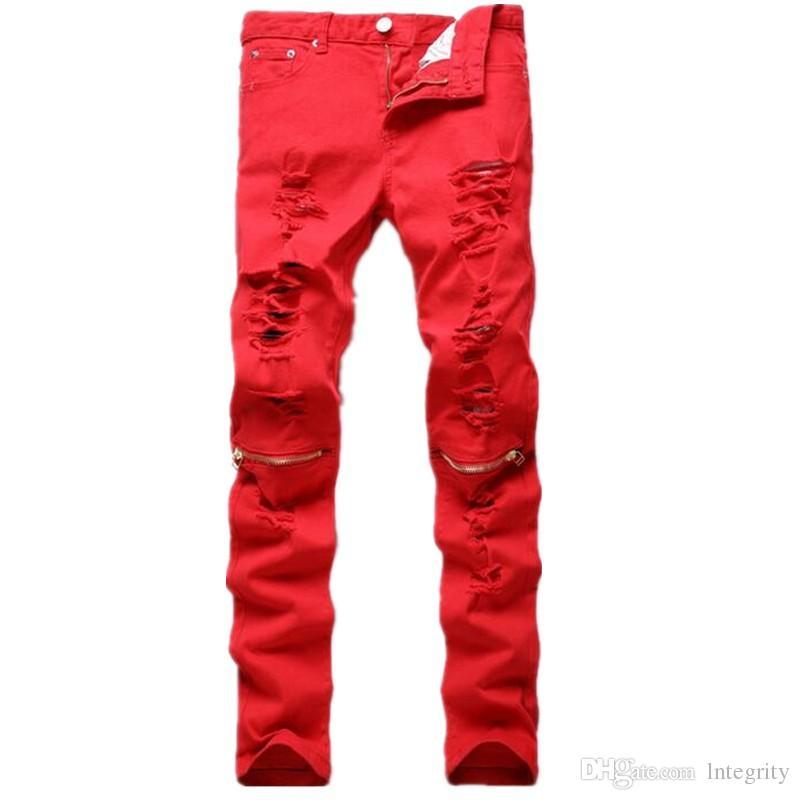 2017 2017 new fashion men ripped designer jeans pants slim fit knee zipper  jeans LITZWXD