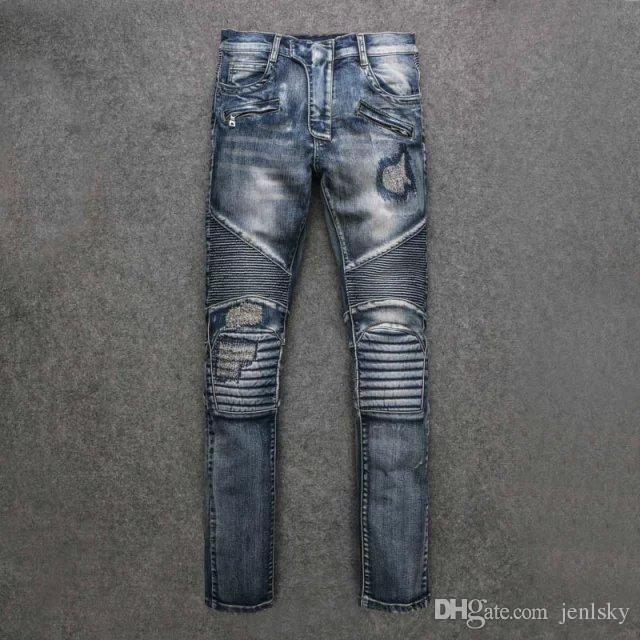 2017 2017 paris designer jeans cool mens skinny destroyed coated biker jeans  blue rip NKQVAFE