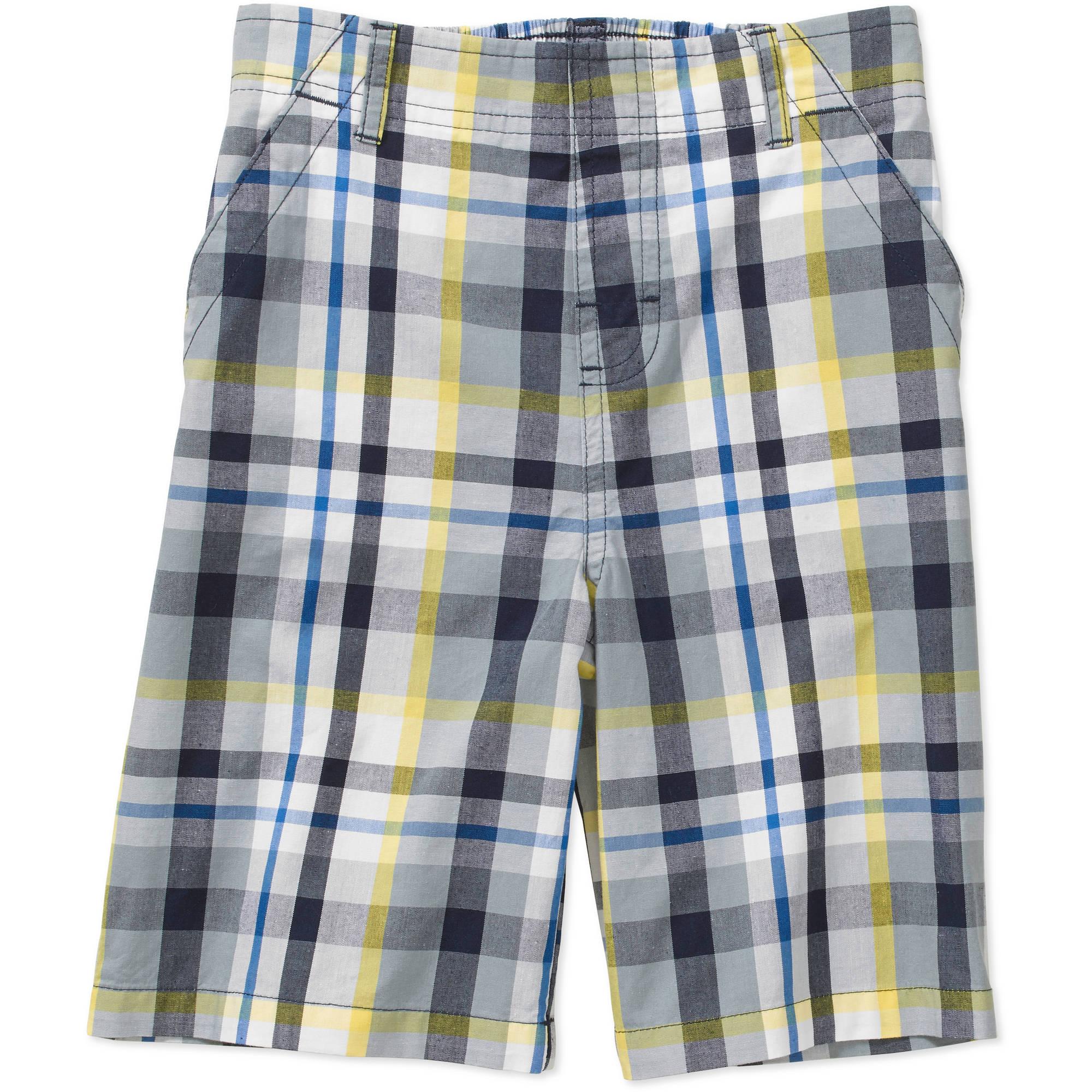 365 kids from garanimals boysu0027 woven plaid shorts with pockets - walmart.com LPGYLUU