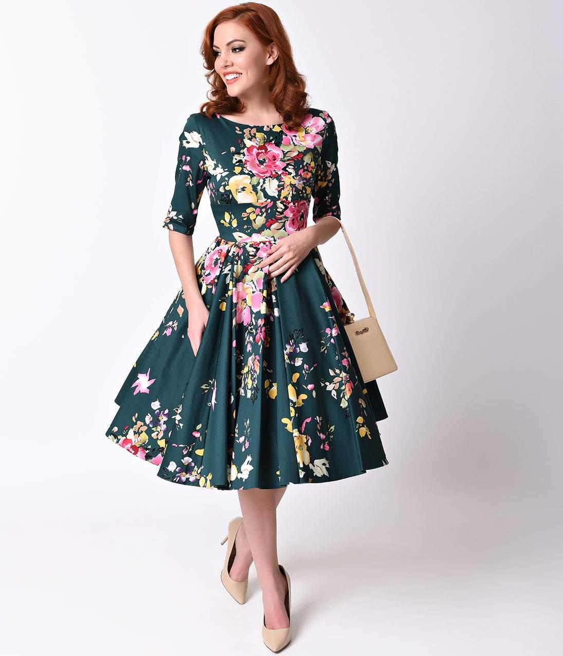 500 vintage style dresses for sale vintage deep green seville floral half  sleeve hepburn NACQVLI