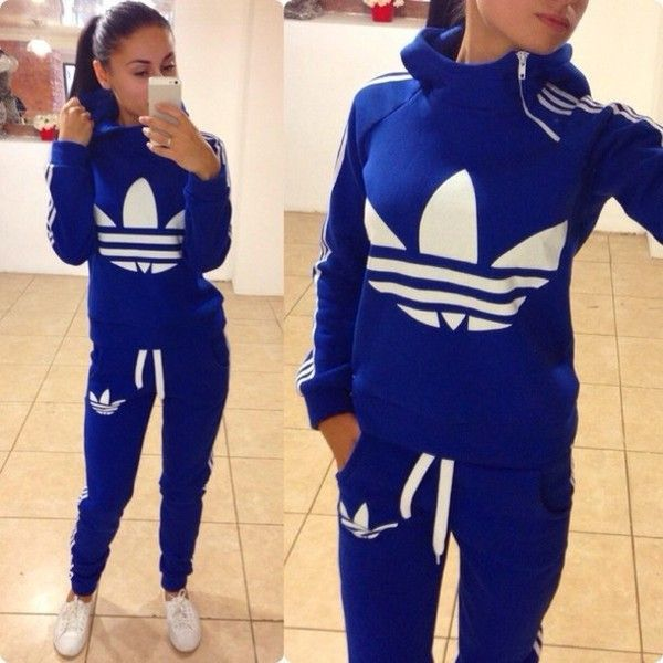 adidas jumpsuit jumpsuit: adidas blue zip winter sweater tracksuit bottoms joggers hoodie  collar blue and white WFITHZW