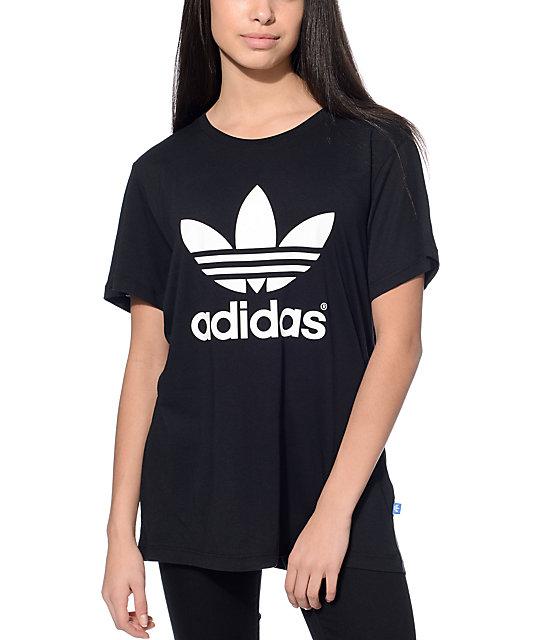 Adidas Shirt adidas boyfriend trefoil black t-shirt EJTEOKP