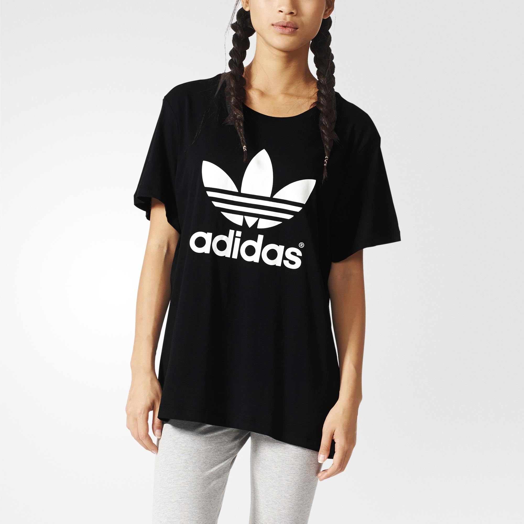 Adidas Shirt adidas boyfriend trefoil tee - black | adidas uk ABGYMOG