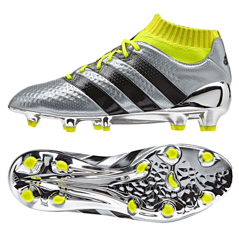 adidas soccer boots adidas ace 16.1 primeknit youth fg soccer cleats (silver metallic/core  black/solar yellow) KRBSBER