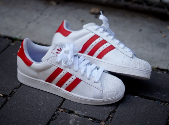 adidas superstar red blue stripes