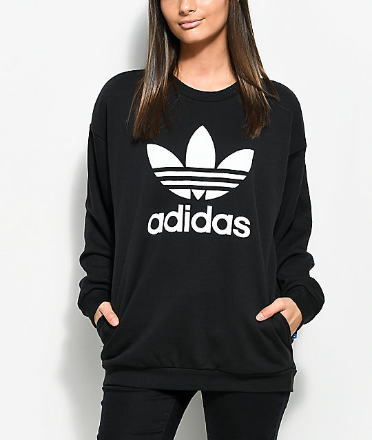 adidas sweatshirt adidas black trefoil crew neck sweatshirt ZKGFNSW