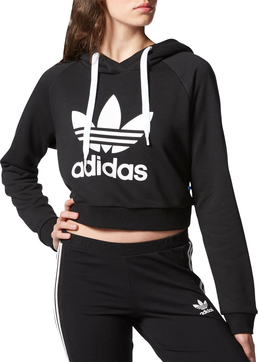 adidas sweatshirt adidas originals womenu0027s cropped graphic hoodie IEQPZUO