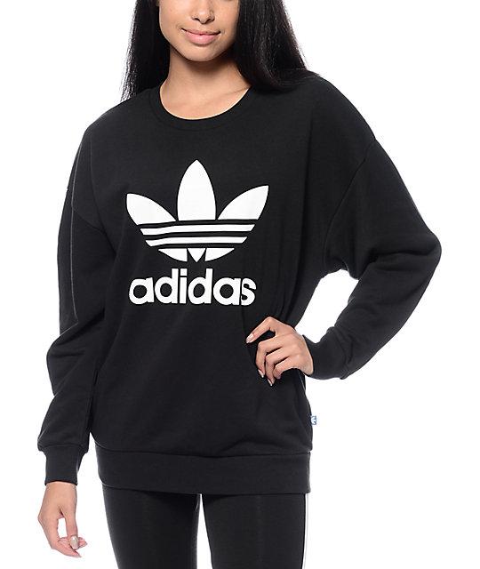 adidas sweatshirt adidas trefoil black crew neck sweatshirt ZTFJBZU