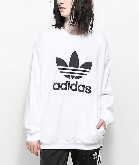 adidas sweatshirt adidas trefoil white oversized crew neck sweatshirt BMYPQYM