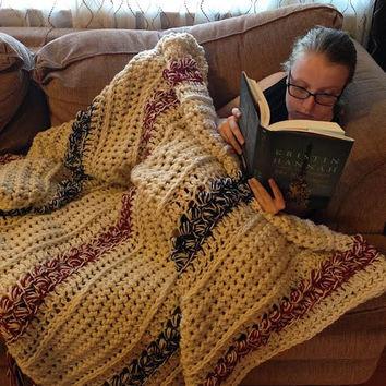 afghan blanket crochet aran style afghan / blanket heirloom gift handmade crochet  housewares / home accessories SLAYUGY