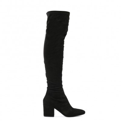 anita long boots in black faux suede ARIXBPE
