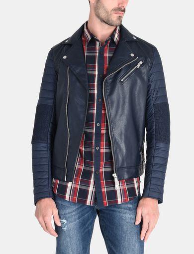 armani jackets armani exchange quilted nylon moto jacket man front WJCLONK