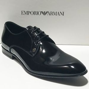 armani shoes image is loading 625-new-emporio-armani-black-patent-leather-tuxedo- KGUIZOY
