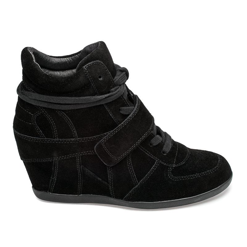 ash bowie womens wedge sneaker black suede 360287 (964) COKYCJJ