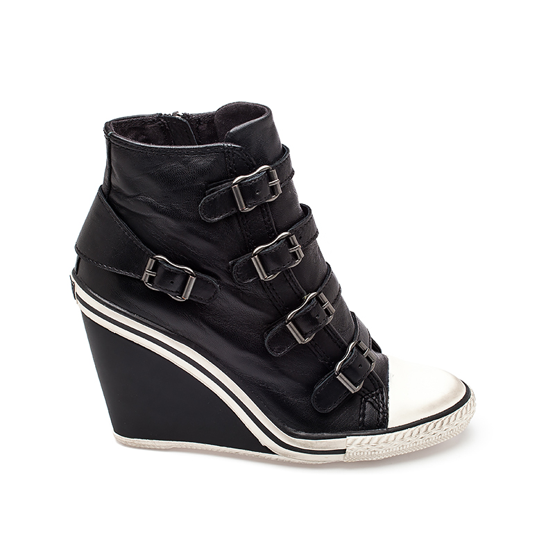ash thelma ter womens wedge sneaker black leather 330359 (001) UKQEXNZ