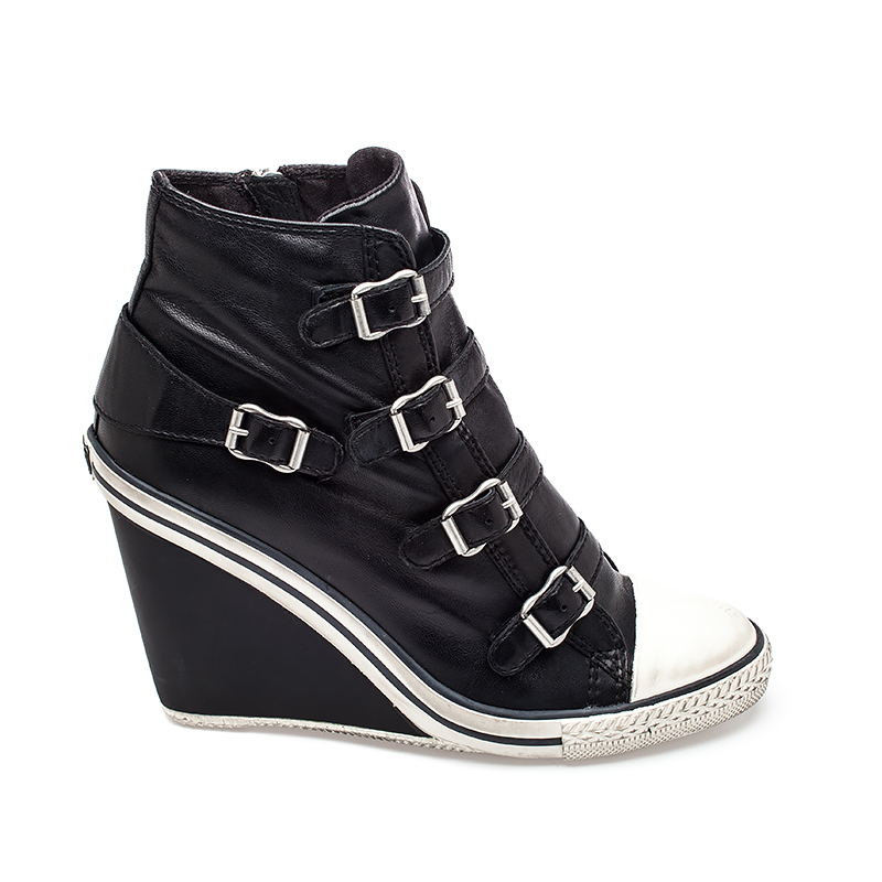 ash thelma wedge sneaker black leather 330149 AOTKTDY