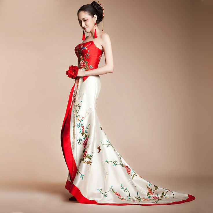 asian wedding dresses asian inspired red and white floral birds embroidered long halter bridal  wedding bridal dress LVTPVYN