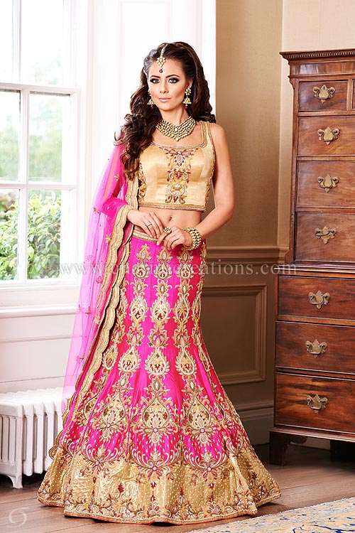 asian wedding dresses vermillion collection - fuscia pink 12 panel mermaid style wedding chaniya  with gold blouse ADQNOUF