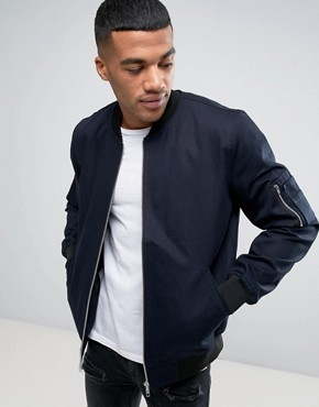 asos bomber jacket with sleeve zip in navy JJWPNJK