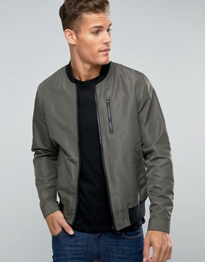 asos bomber jacket with zip chest pocket in khaki PHKNHGM