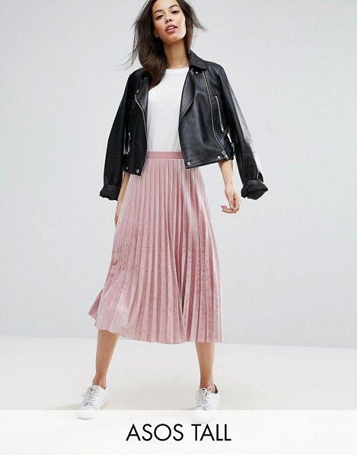 asos tall pleated midi skirt in pink velvet FVLPOGS