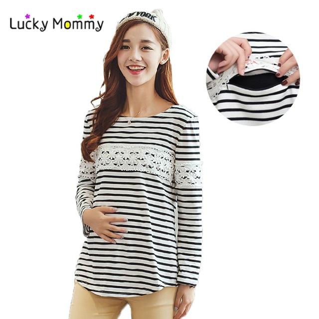 autumn winter velvet warm winter nursing shirt breastfeeding tops clothing  stripe casual nursing top UQUGQZJ