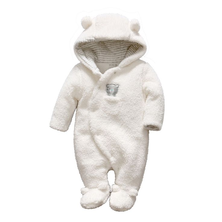 baby winter clothes newborn baby clothes bear onesie baby girl boy rompers hooded plush  jumpsuit winter overalls QKWZMNW