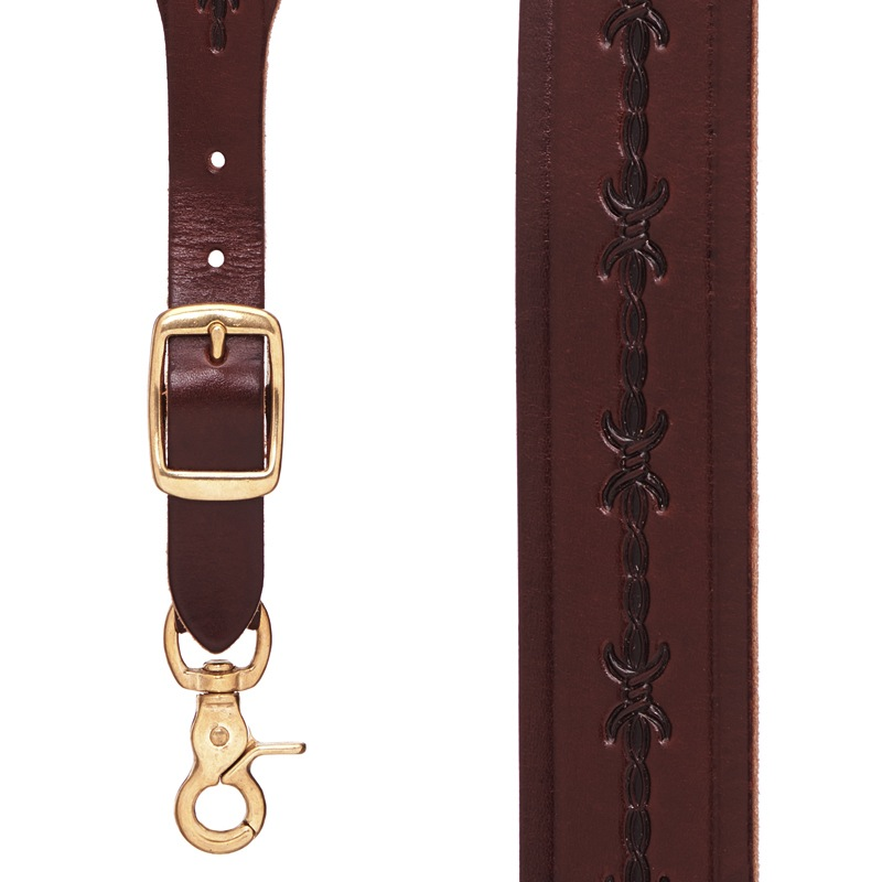barbed wire western leather suspenders - 1.5 in ... XWVWNCU