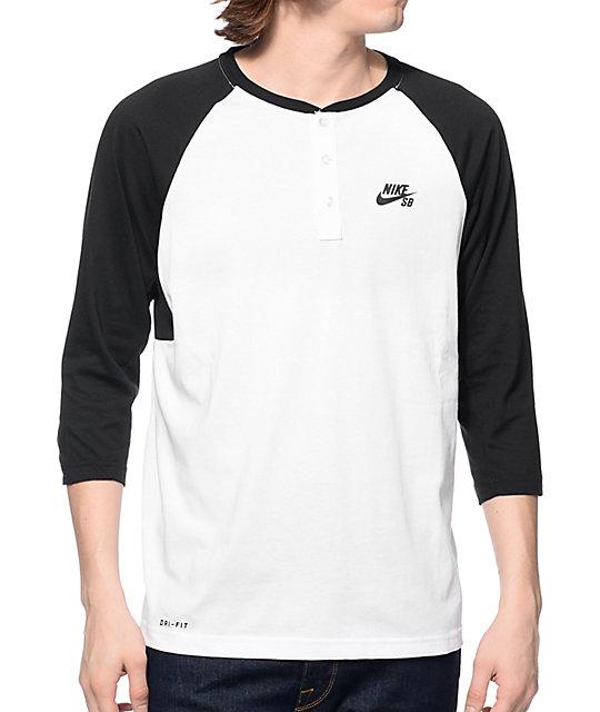 baseball tees nike sb dri-fit white u0026 black henley baseball t-shirt SDUVHNH