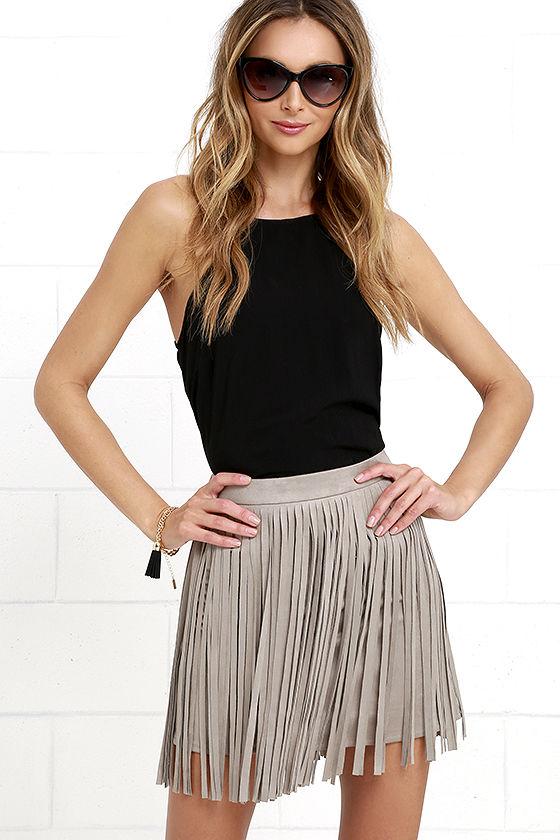 bb dakota pearl - fringe skirt - taupe skirt - mini skirt - $71.00 ZBXLEHE