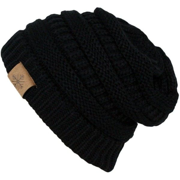 beanie hat winter warm thick cable knit slouchy skull beanie cap hat found on polyvore  featuring FTJMFHL