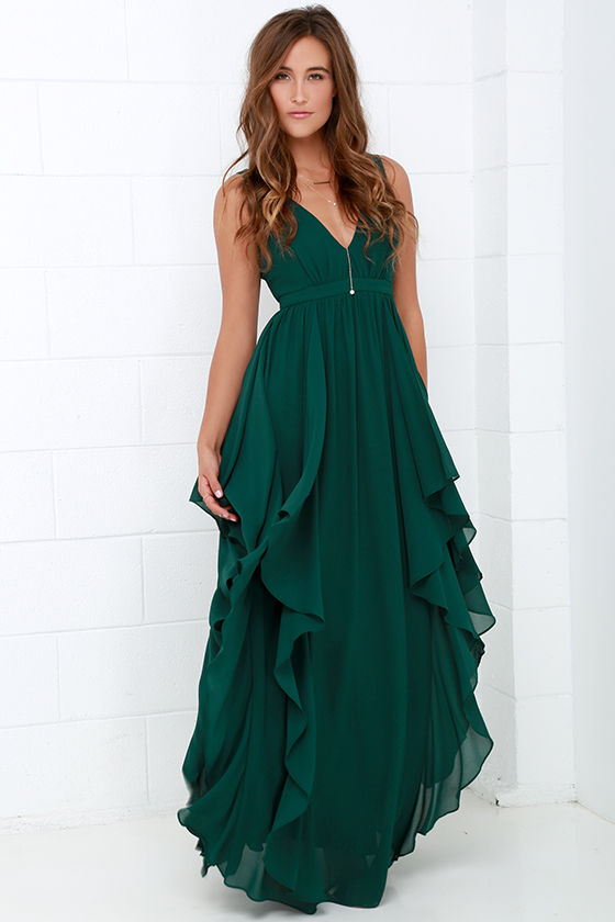 beautiful dark green maxi dress - prom dress - bridesmaid dress - $98.00 PZMGTZJ